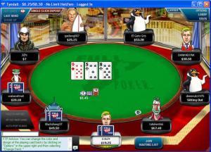 Mesa de um jogo de pôquer online do site FullTilt Poker